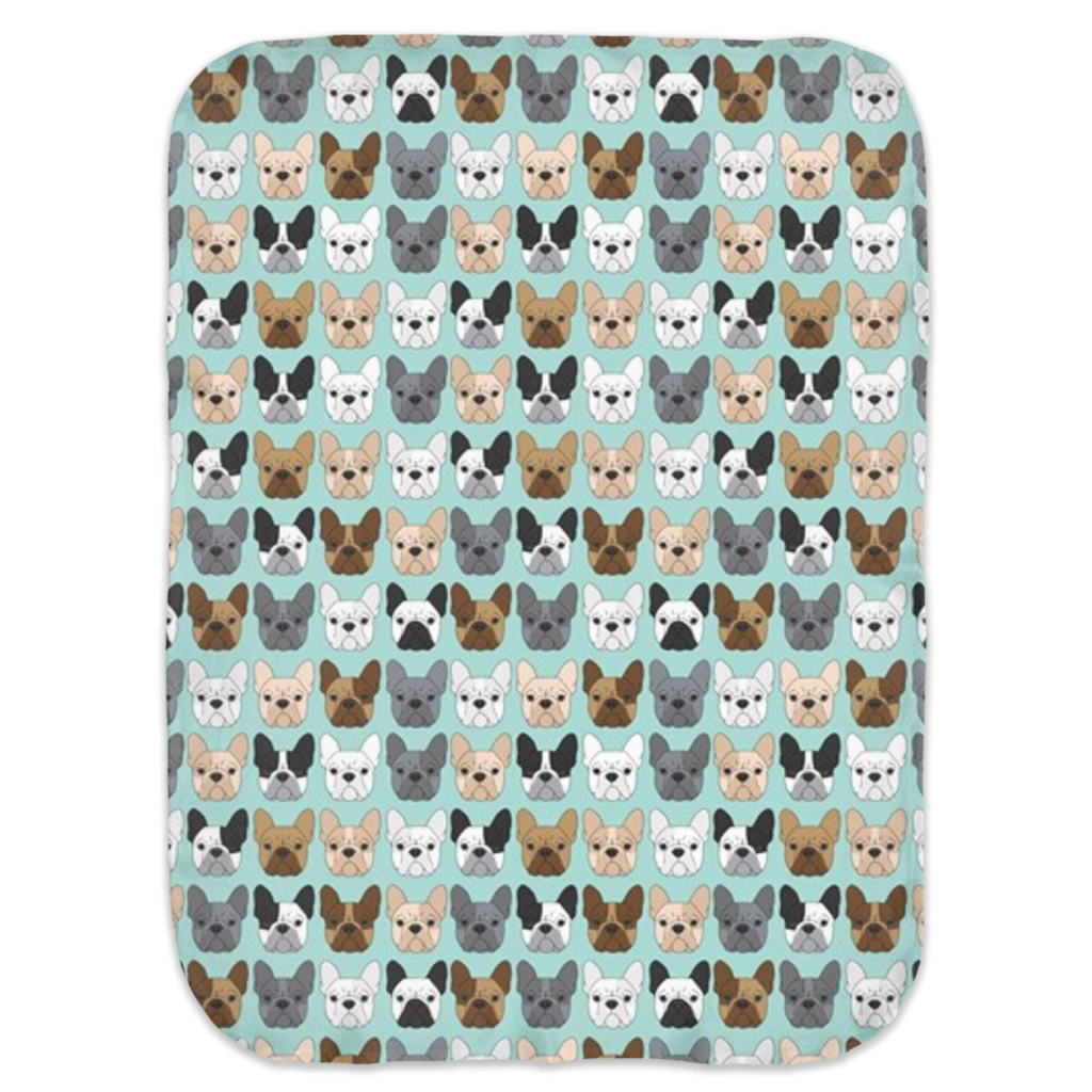 Mint French Bulldog Ultra Soft Jersey Knit Swaddle Blankets