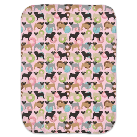Pugs and Donuts on Pink Ultra Soft Jersey Knit Swaddle Blankets