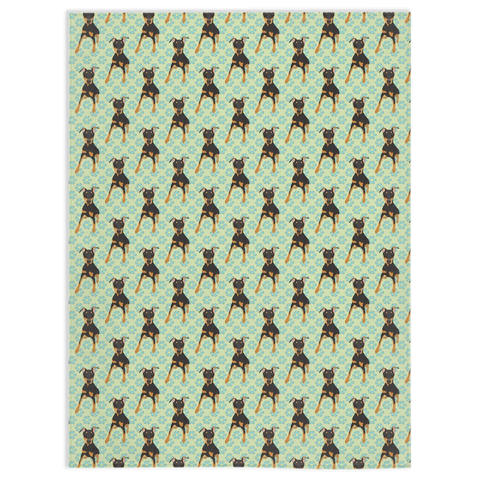 Blue & Green Floral Uncropped Doberman Blanket
