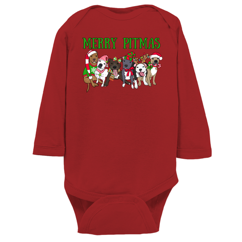 Merry Pitmas Pitbull Christmas Long Sleeve Infant Bodysuit