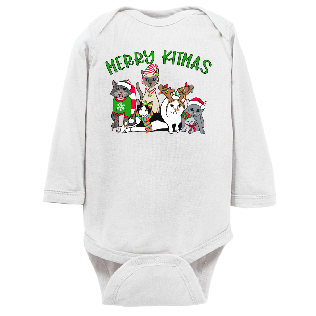 Merry Kitmas Christmas Cat Long Sleeve Infant Bodysuit