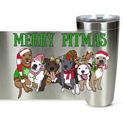 Merry Pitmas Christmas Pitbull Travel Mug
