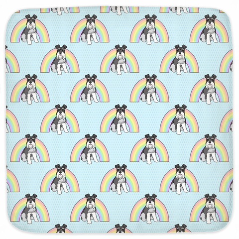Rainbow Schnauzer Hooded Baby Towels