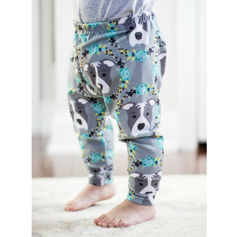 Blue Floral Pitbull Print Leggings