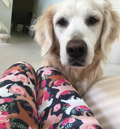 Floral Golden Retriever Women's Leggings