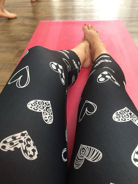 Monochrome Hearts Valentine Women's Leggings