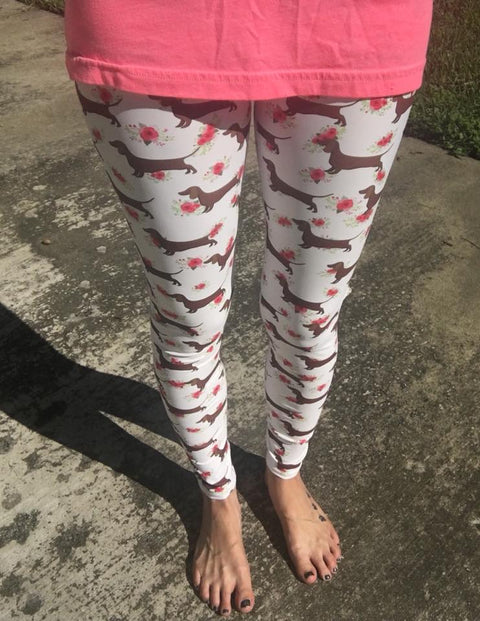 Floral Weiner Dog Dachshund Women's Leggings