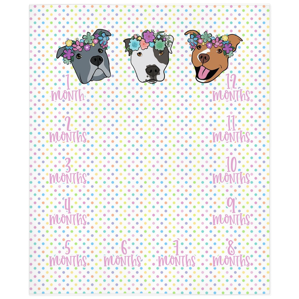 Polka Pitty Pitbull Milestone Blanket Reversible Babalus By Lucy