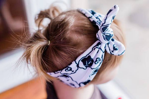 Black & White Pitbull Face Infant & Toddler Top Knot Headband