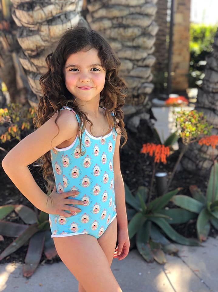Floral Goldendoodle  Kids Swimsuit