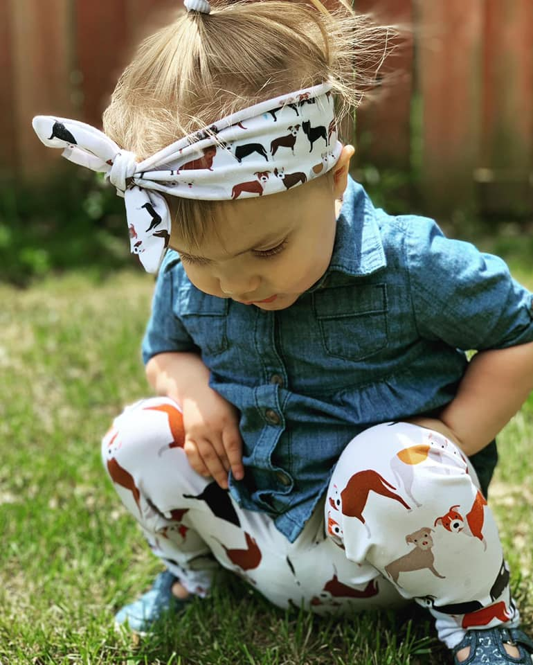 Pitbull Print Infant & Toddler Top Knot Headband