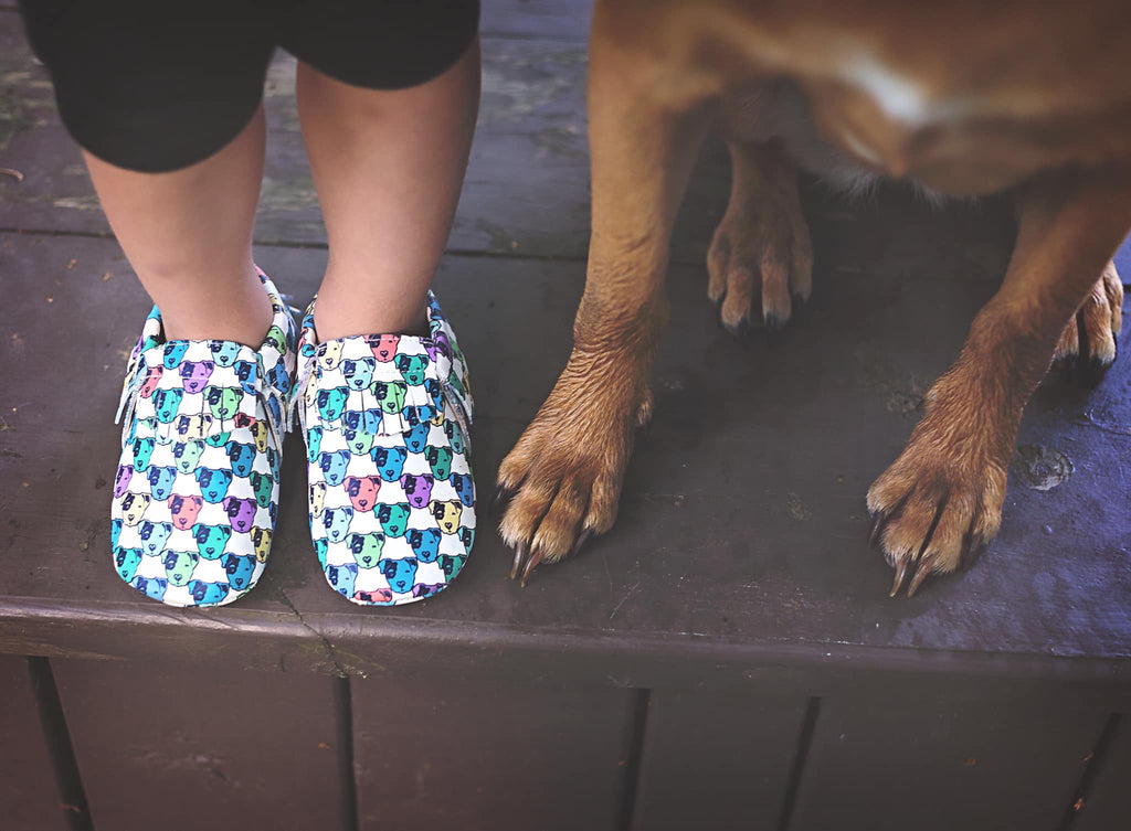 Kickstarter Exclusive Rainbow Pitbull Face Moccasins
