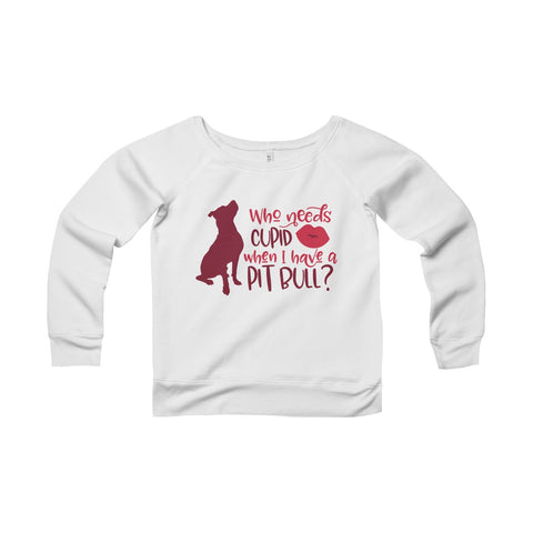 Valentines Day Pitbull Women's Sponge Fleece Wide Neck Sweatshirt