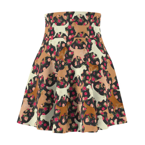 Floral Golden Retriever Women's Skater Skirt