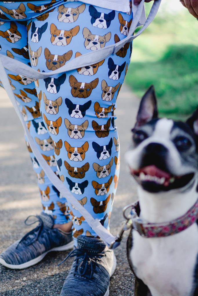 Boston Terrier on Blue Women's Leggings