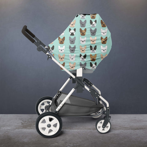Mint Frenchie French Bulldog Car Seat / Nursing Cover