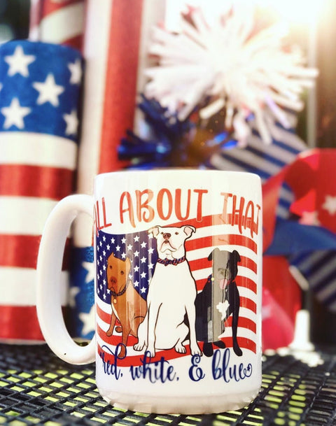 RED, WHITE & BLUE Pitbull Mug made in the USA
