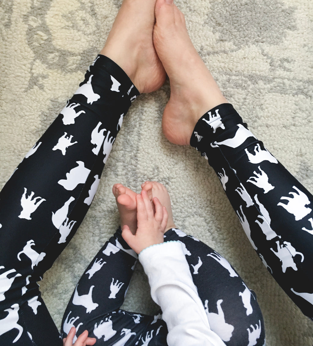 Black Mixed Doggies Leggings Basset Hound Pitbull French Bulldog English Bulldog Women's Leggings