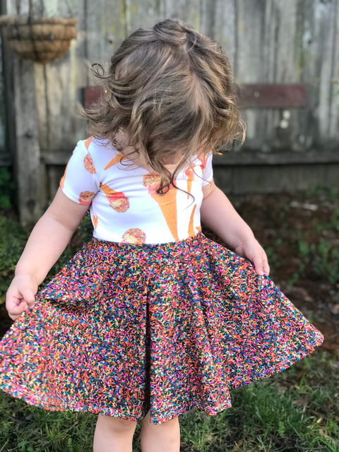 Ice Cream and Rainbow Sprinkles Ballerina Twirl Dress