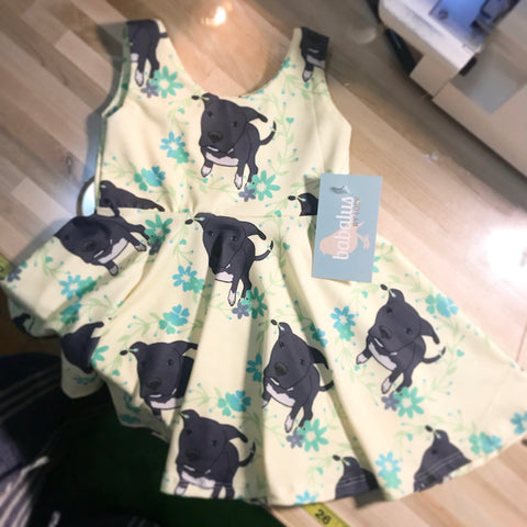 Floral Dori the Pitbull Ballerina Twirl Dress