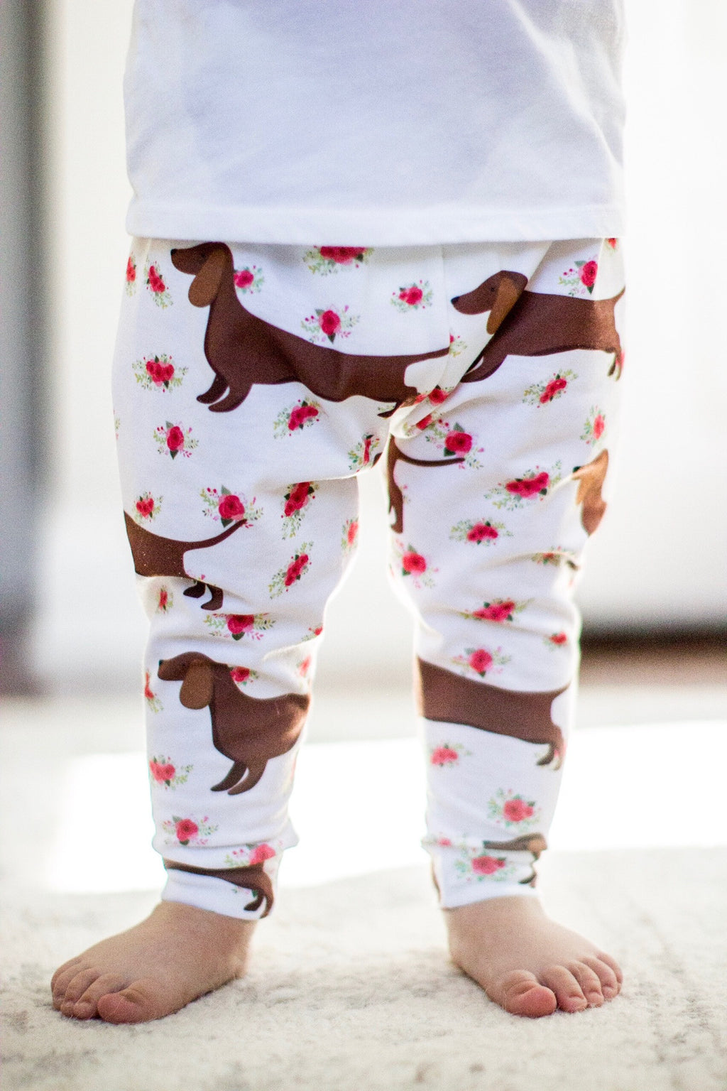 Floral Weiner Dog Dachshund Leggings