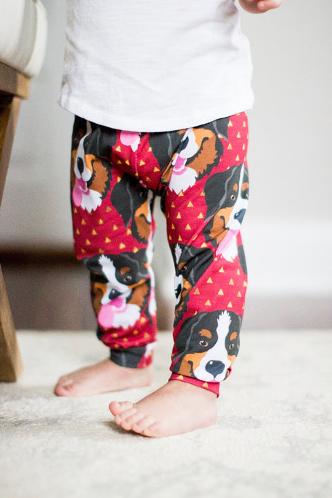 Bernese Mountain Dog Print on Red Leggings