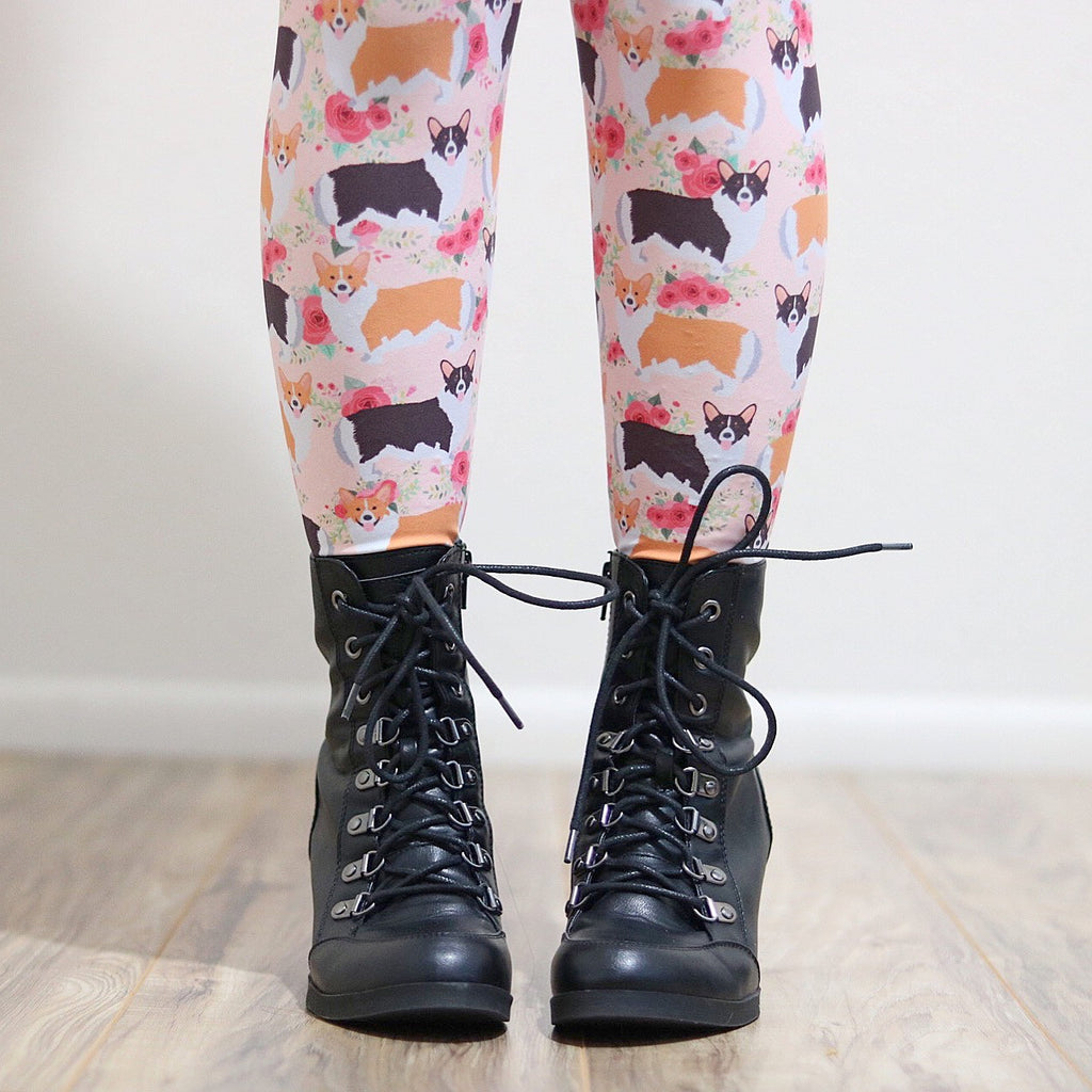 Floral Corgi Women's Leggings