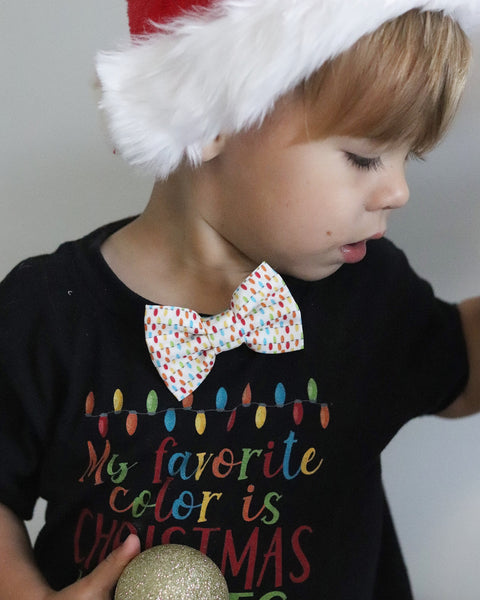 Christmas Lights Organic Cotton Kids Clip On Bow Tie