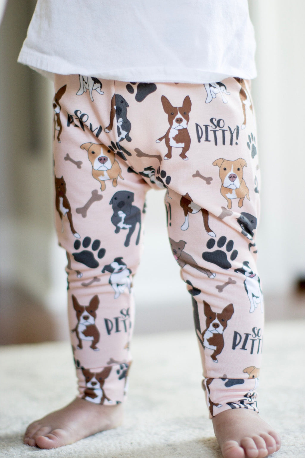Peach So Pitty Pitbull Print Leggings