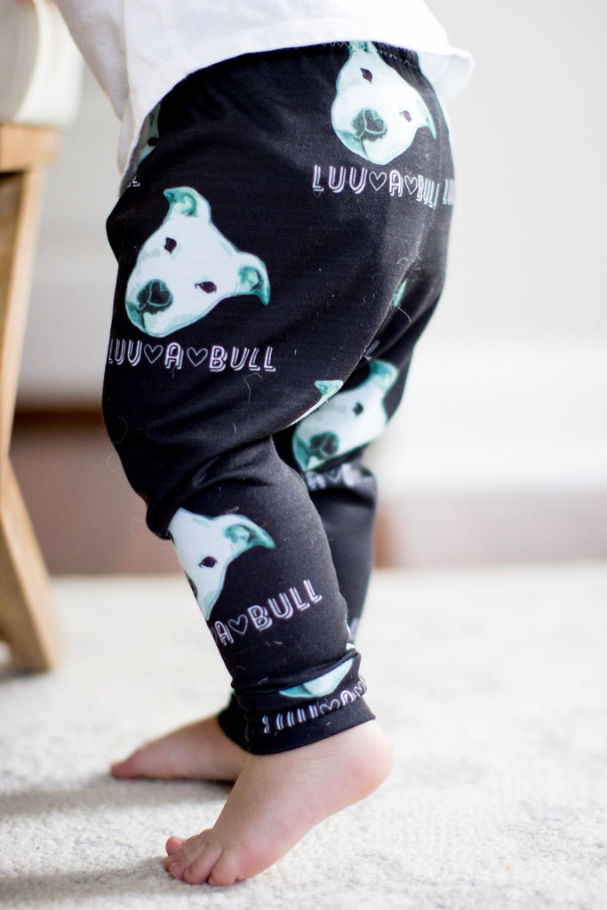 Black Luv A Bull Pitbull Print Leggings