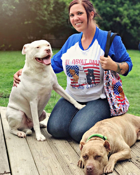 Red, White & Blue Pitbull 3/4 sleeve raglan shirt