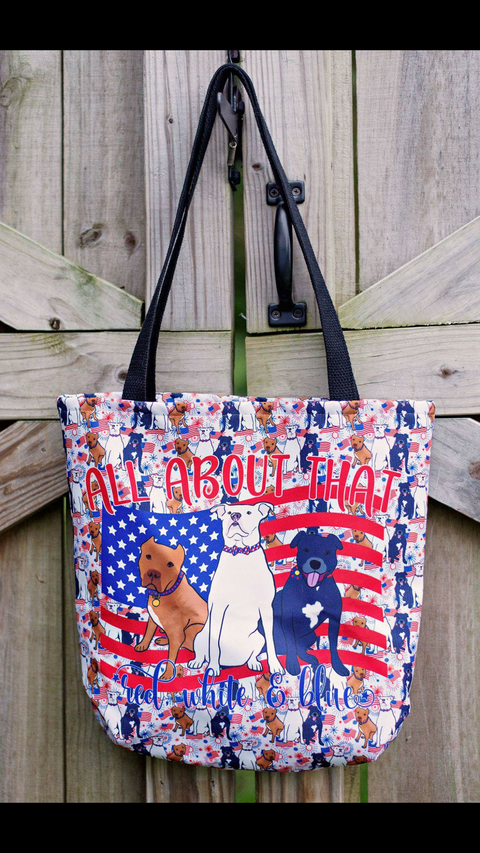RED, WHITE & BLUE Pitbull Tote bag