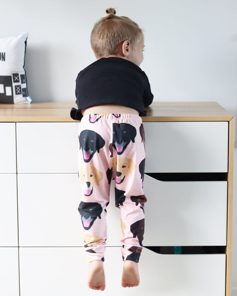 Chocolate, Black and Yellow Labrador Retriever Leggings on Peach
