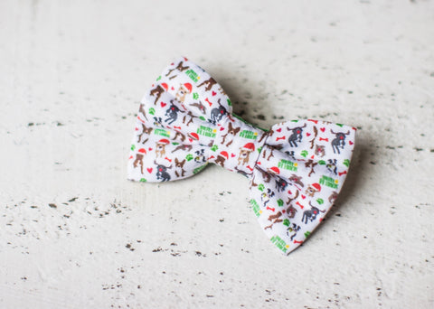 Merry Pitmas Christmas Pitbull Organic Cotton Hair Bow