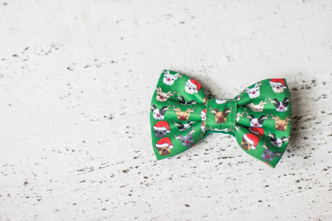 Christmas French Bulldog Organic Cotton Hair Bow