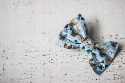 French Bulldog on Mint Organic Cotton Hair Bow