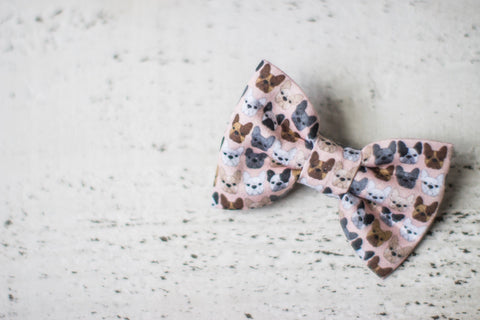 French Bulldog on Peach Organic Cotton Hair Bow