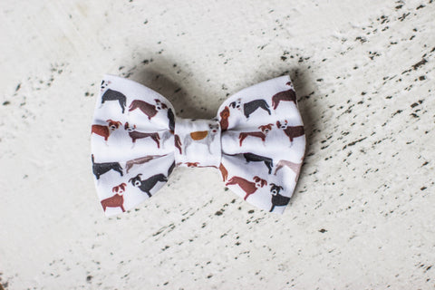 Pitbull on White Organic Cotton Hair Bow