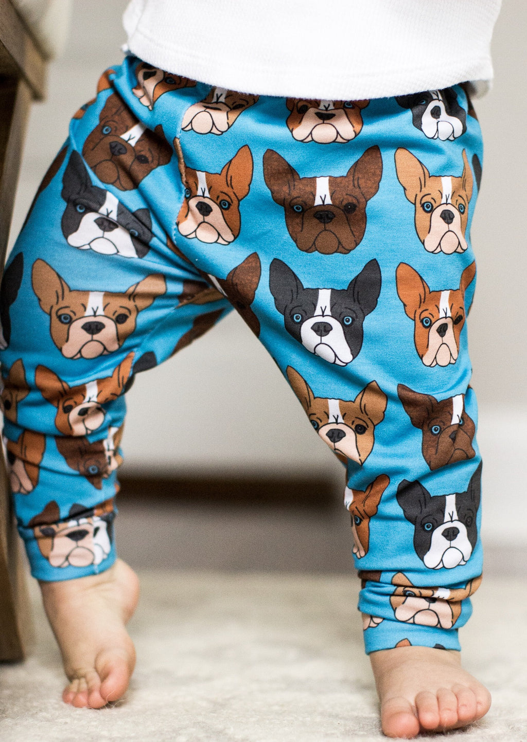 Boston Terrier Print on Blue Leggings