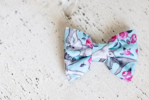 Floral Dinosaur Organic Cotton Hair Bow