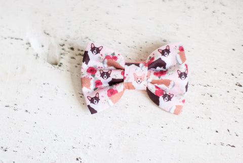 Floral Corgi Organic Cotton Hair Bow