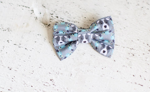 Blue Pitbull Organic Cotton Hair Bow