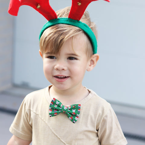 Christmas French Bulldog Organic Cotton Kids Clip On Bow Tie