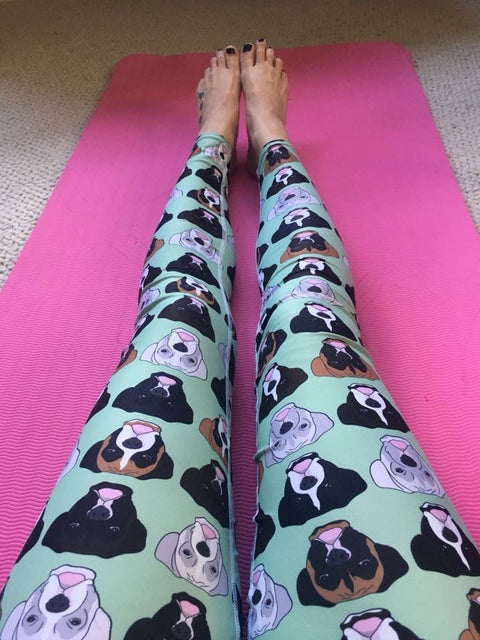 Boxer Faces on Mint Women's Leggings