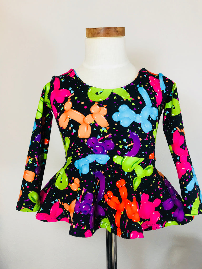 Balloon Animals on Black Peplum Top