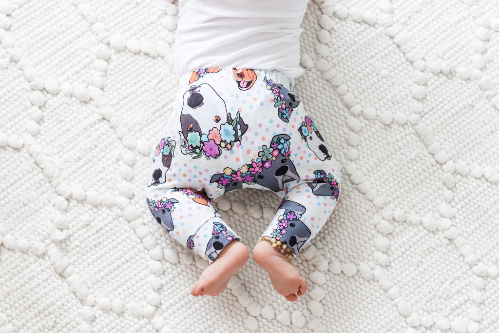 Polka Pitties Polkadot Floral Pitbull Leggings