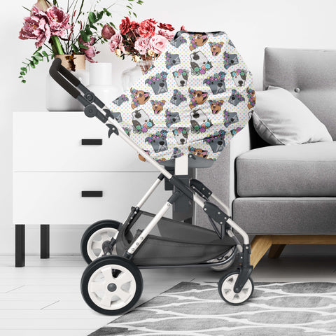 Polka Pitty Floral Pitbull Car Seat / Nursing Cover