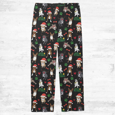 Merry Pitmas Christmas Pitbull Adult Pajamas