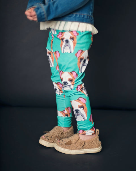 English Bulldog on Teal Leggings