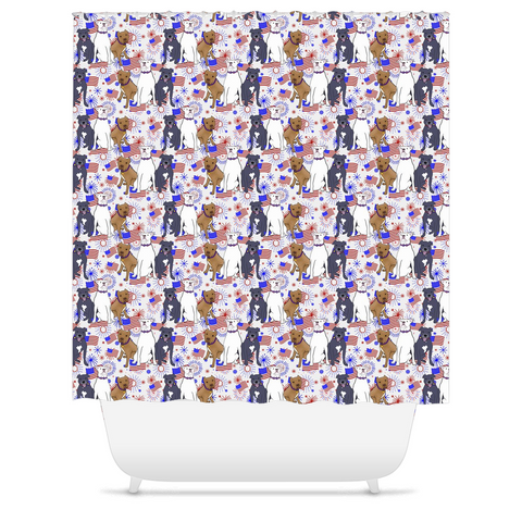 Red, White and Blue Pitbull Shower Curtains